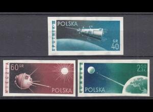 Polen - Poland 1959 Raumfahrt SPUTNIK Michel 1127-29 B postfrisch (22419