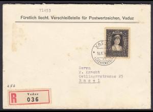 Liechtenstein 1947 R-Brief nach Basel Mi.256 Tod Fürstin Elsa (22728
