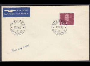 Liechtenstein 1948 FDC Mi. 264 Salomon August Andrée (1854-1897) (22729