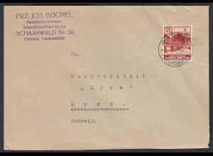 Liechtenstein 1940 Bedarfs-Brief Schaanwald in die Schweiz (22738