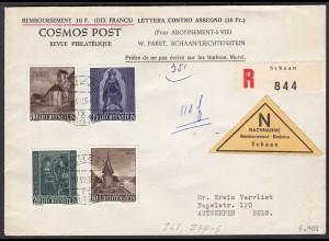 Liechtenstein 1959 R-NN-Brief Mi. 362,374-76 nach Antwerpen (22741