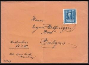 Liechtenstein 1943 NN-Brief nach Balzers Einzelfrankatur Mi.208 (22742