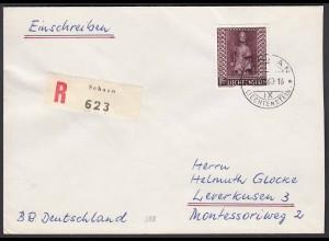 Liechtenstein 1960 R-Brief Mi.388 St.Luzius Einzelfrankatur (22758