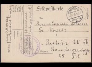 Feldpost 1. WK vom Festungslazarett WARSCHAU 1916 nach Berlin (20575