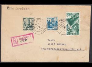 Franz.Zone Württemberg R-Brief Provisorische R-Eindruck Lindau 1946 (20573