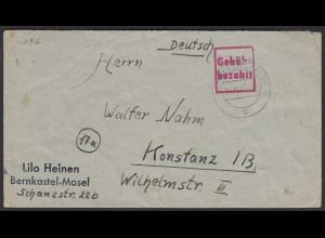 Bernkastel-Kues 1945 Gebühr bezahlt nach Konstanz (20583