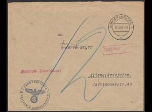 1937 3.Reich Staatsarchiv Thüringen Sondershausen Brief Nachgebühr (20586