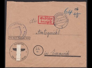 1946 Gerichtsbrief Oberhausen nach Emmerich Gebühr bezahlt (20588