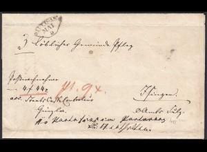 Württemberg Brief Doppelverwendung 1855 Rosenfeld/Stuttgart (20593