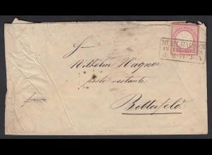 Mühlhausen Thüringen nach Bitterfeld 1874 1 Groschen Brustschild (20599