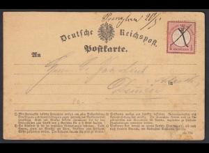 1873 Postkarte 1/2 Groschen kleines Schild Strichentwertung Prenzlau (20600