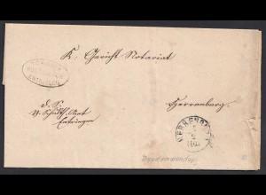 1862 Tübingen Postablage Entringen Herrenberg Doppelverwendung (20603