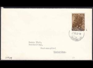 1960 Liechtenstein Mi.399 Einzelfrankatur nach Winterthur (22723