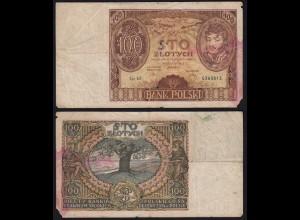 Poland - Bank Polski 100 Zlotty Banknote 1934 Pick 75 stark gebraucht (22435