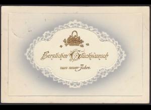 Ak 1913 Gold-Prägekarte zum Neuen Jahr mit Bahnpost (20899