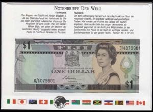 Fiji 1 Dollar ND 1987 Banknotenbrief der Welt UNC Pick 86a (15558