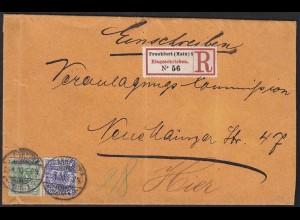 Deutsches Reich 1900 R-Orts-Brief Frankfurt späte Verwendung Mi.46 + 48 (13424