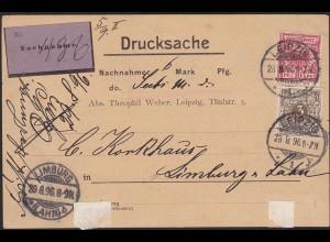 Deutsches Reich 1896 NN-Drucksache Karte Mi.45 + 47 seltene Portostufe