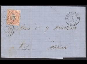 Sachsen 1865 1/2 NG Brief LENGENFELD n.MÜHLAU über REICHENBACH (13448