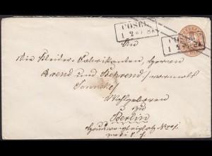 PREUSSEN Ganzsache Umschlag 3 Sgr. COSEL nach BERLIN (13450