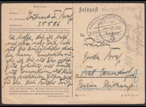 1942 Bahnpost auf Feldpostkarte 3.Reich Aachen-Holzminden Zug 333 (20895