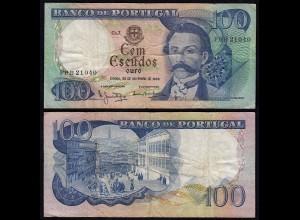 Portugal - 100 Escudos Banknote 1965 - Pick 169a VF (3) (22942