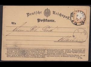 1873 Goldberg Schlesien 1/2 Groschen Postkarte nach Ohlau (13456