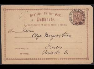 1873 Freienwalde R2 nachverwendet 1/2 Groschen Ganzsache nach Berlin (13454