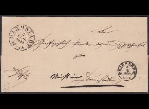 Thurn & Taxis Umschlag 1855 von Giessen nach Darmstadt (16012