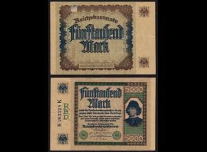 Reichsbanknote 5000 Mark 1922 Ros 76 VF (3) K262228K (16041