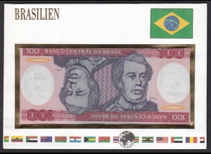 Brasilien - Brazil 100 Cruzeiros Banknotenbrief der Welt UNC (15509