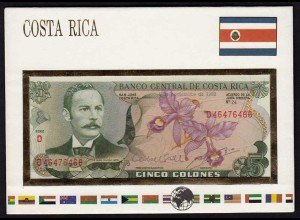 COSTA RICA 5 Colones Banknotenbrief der Welt UNC Pick 236d (15507