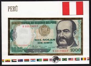Peru 1000 Soles Banknotenbrief der Welt UNC (15506