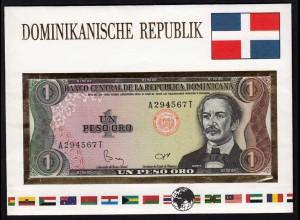 Dominikanische Republik 1 Peso Banknotenbrief der Welt UNC (15504