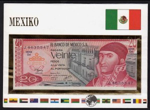 Mexiko - Mexico 20 Pesos Banknotenbrief der Welt UNC 1977 (15498