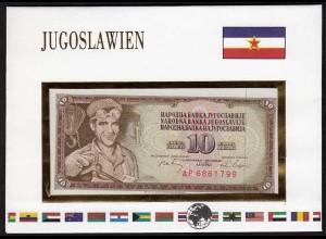 Jugoslawien 10 Dinara Banknotenbrief der Welt UNC 1968 (15491
