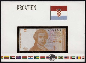 KROATIEN 1 Hrvatska 1991 Banknotenbrief der Welt UNC (15486