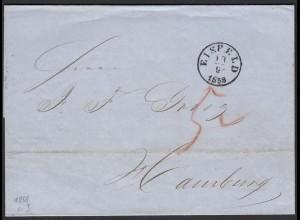Thurn und Taxis 1858 Brief Eisfeld nach Hamburg über Meiningen (16004