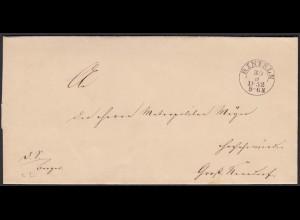 Thurn und Taxis 1852 Umschlag von Rinteln nach Nenndorf (16005
