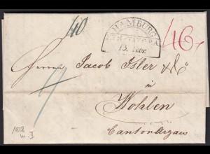 Thurn und Taxis 1828 Brief aus Hamburg nach Wohlen Schweiz (16008