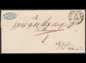 Thurn und Taxis 1852 Umschlag Darmstadt über Friedberg + Assenheim (16009