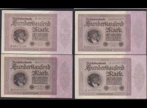 Reichsbanknote 4 x 100.000 Mark 100-tausend 1923 VF Ros.82a Serie B,C,D,E