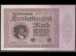 Reichsbanknote 100.000 Mark 100-tausend 1923 aUNC (1-) Ros.82a Serie D