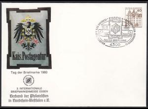 Bund BRD Umschlag Privat-Ganzsache 1980 Tag der Briefmarke Essen (22905