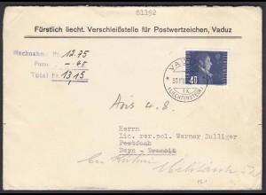 Liechtenstein NN-Brief Vaduz - Bern Einzelfrankatur Mi.261 von 1948 (22924
