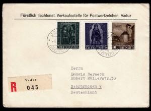 Liechtenstein R-Brief Vaduz - Saarbrücken Mi.374-6 von 1958 (22925