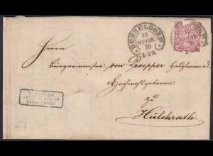 1870 NDP Brief von Düsseldorf Hufeisenstempel nach Hülchrath (22946