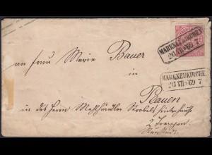 1869 NDP Ganzsache Umschlag von Markneukirchen nach Plauen (22948