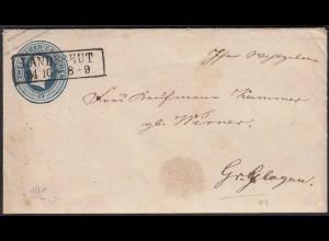 Preussen 2 Sgr Ganzsache 1860 Landeshut nach Gr.Glogau mit Inhalt (22957