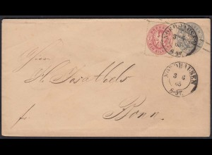 Preussen Ganzsache 2 Sgr. m.Zusatzfrankatur v.Nordhausen - Bonn 1865 (22964